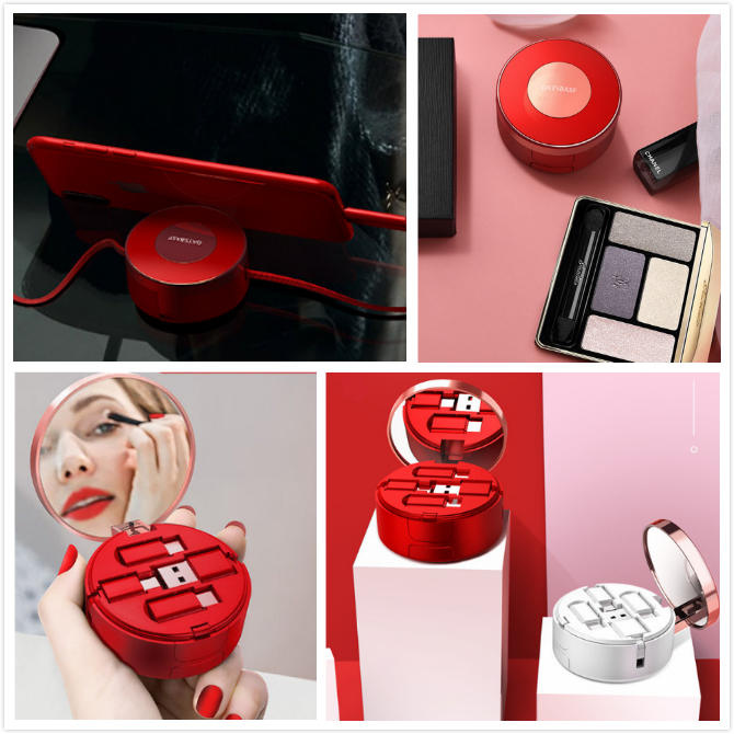 cosmetic mirror micro USB retractable multi-function data cable for mobile phone or power bank