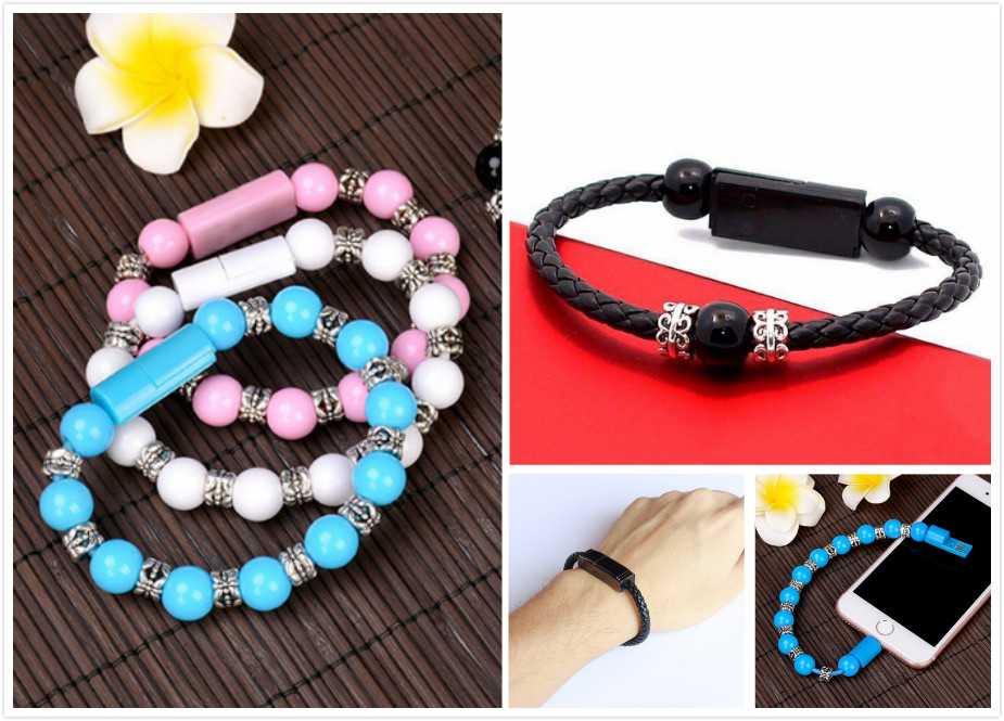 Beads woven data charging cable