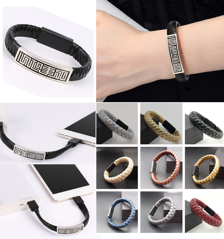 leather woven charging bracelet